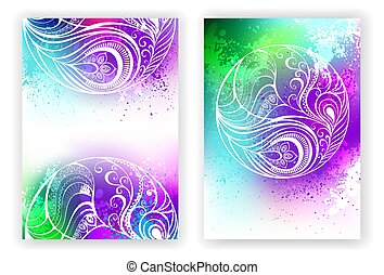 watercolor design with abstract feather - Bright design with...