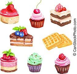 watercolor, dessert, set, gebakje, taart