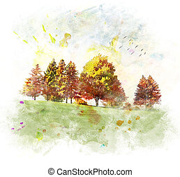 Autumn Trees - Watercolor Digital Painting Of Colorful...