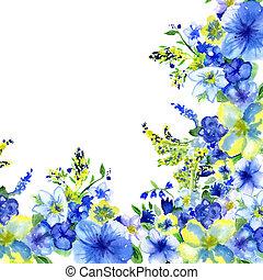 watercolor, donker blauw, en, gele bloemen, op, een, witte...