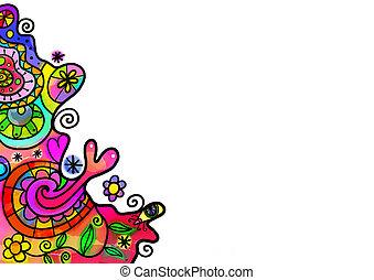 Watercolor Doodle Border Decoration
