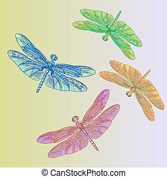 Watercolor dragonfly set.