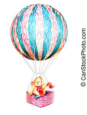 watercolor drawing bunny on a balloon