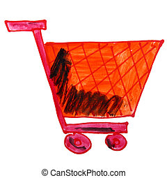 watercolor drawing children cartoon trolley on a white backgro