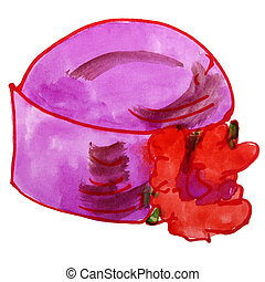 watercolor drawing children hat, cartoon flower on a white bac