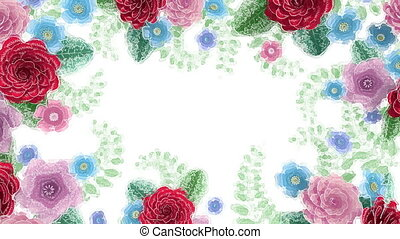 Watercolor drawing flowers growing, appearing, botanical...