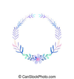 watercolor drawing - frame, wreath of winter flowers