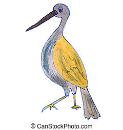 watercolor drawing kids cartoon heron on white background