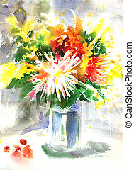 Watercolor drawing of a bouquet with chrysanthemum