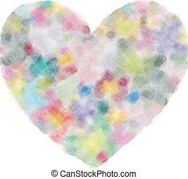 Watercolor drawing of a heart on white