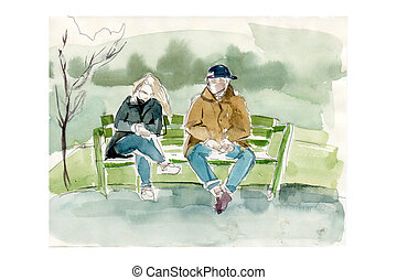 young man with a woman on a bench in the park