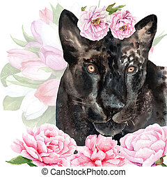 watercolor drawing of an animal - panther in flowers