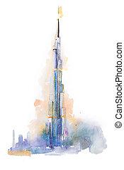 watercolor drawing of Burj Khalifa tower in Dubai.