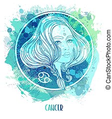 Watercolor drawing of Cancer astrological sign as a beautiful girl over paining. Zodiac vector illustration isolated on white. Future telling, horoscope