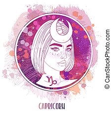 Watercolor drawing of Capricorn astrological sign as a beautiful girl over paining. Zodiac vector illustration isolated on white. Future telling, horoscope.