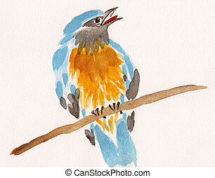 watercolor drawing of cute bird on a branch