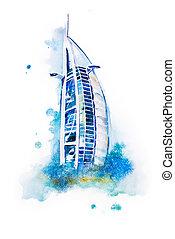 watercolor drawing of Dubai hotel. Burj Al Arab aquarelle...