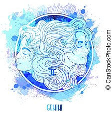 Watercolor drawing of Gemini astrological sign as a beautiful girl over paining. Zodiac vector illustration isolated on white. Future telling, horoscope