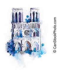 Watercolor drawing of Notre-dame. aquarelle Paris view...