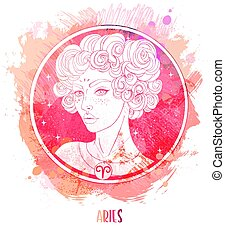 Watercolor drawing of Taurus astrological sign as a beautiful girl over paining. Zodiac vector illustration isolated on white. Future telling, horoscope