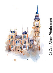 watercolor drawing Westminster Palace in London. Aquarelle...