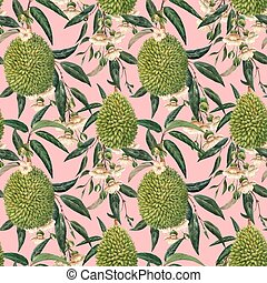 Watercolor durian tropical vector seamless pattern