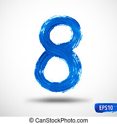 Watercolor Eight Number. Grunge Background