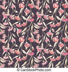 Watercolor eucalyptus pattern - Beautiful seamless pattern...