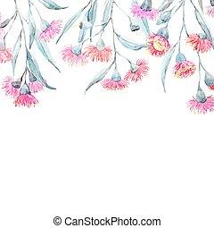 Watercolor eucalyptus vector frame - Beautiful vector frame...