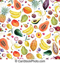 Watercolor exotic fruits pattern - Beautiful seamless...