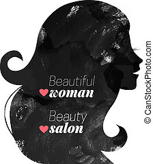 Watercolor fashion beautiful woman silhouette.