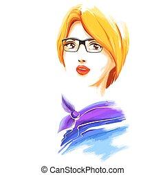 Watercolor fashion blonde woman