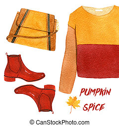 watercolor fashion illustration. pumpkin spice set. sweatshirt, shoes and handbag.
