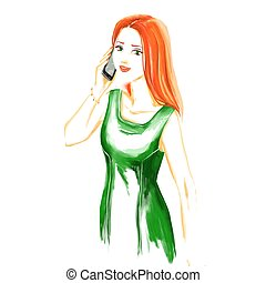 Watercolor fashion  woman talking by mobile phone