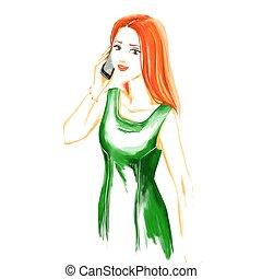 Watercolor fashion  woman talking by mobile phone