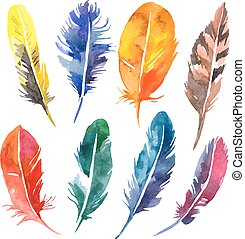 Watercolor feather set. Hand drawn vector illustration