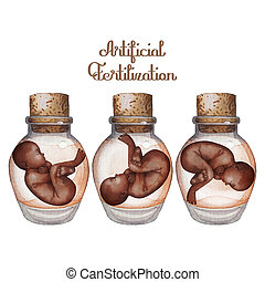 Watercolor fetus in the glass bottle - Watercolor fetuses in...