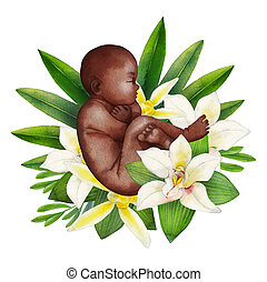 Watercolor fetus with floral decorations. African American...