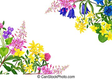 Watercolor field flowers, bright colors, corner frame