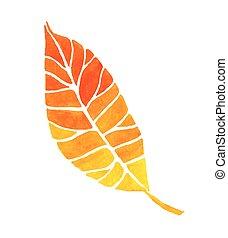 watercolor, firmanavnet, leaf., vektor, illustration
