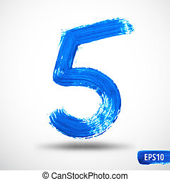 Watercolor Five Number. Grunge Background