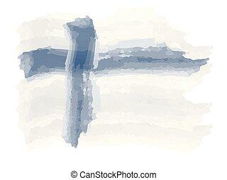 Watercolor flag of Finland. Vector illustration design