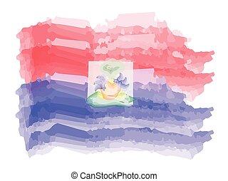 Watercolor flag of Haiti