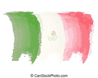 Watercolor flag of Mexico