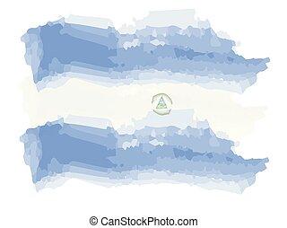 Watercolor flag of Nicaragua