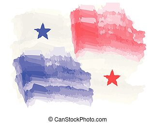 Watercolor flag of Panama