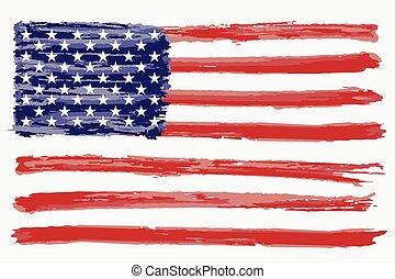 Watercolor flag of USA.
