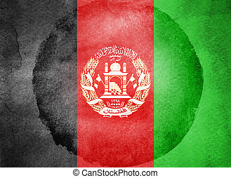 Watercolor flag on background. Afghanistan