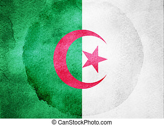 Watercolor flag on background. Algeria