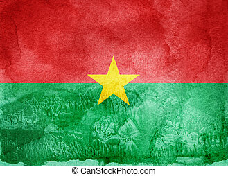 Watercolor flag on background. Burkina Faso